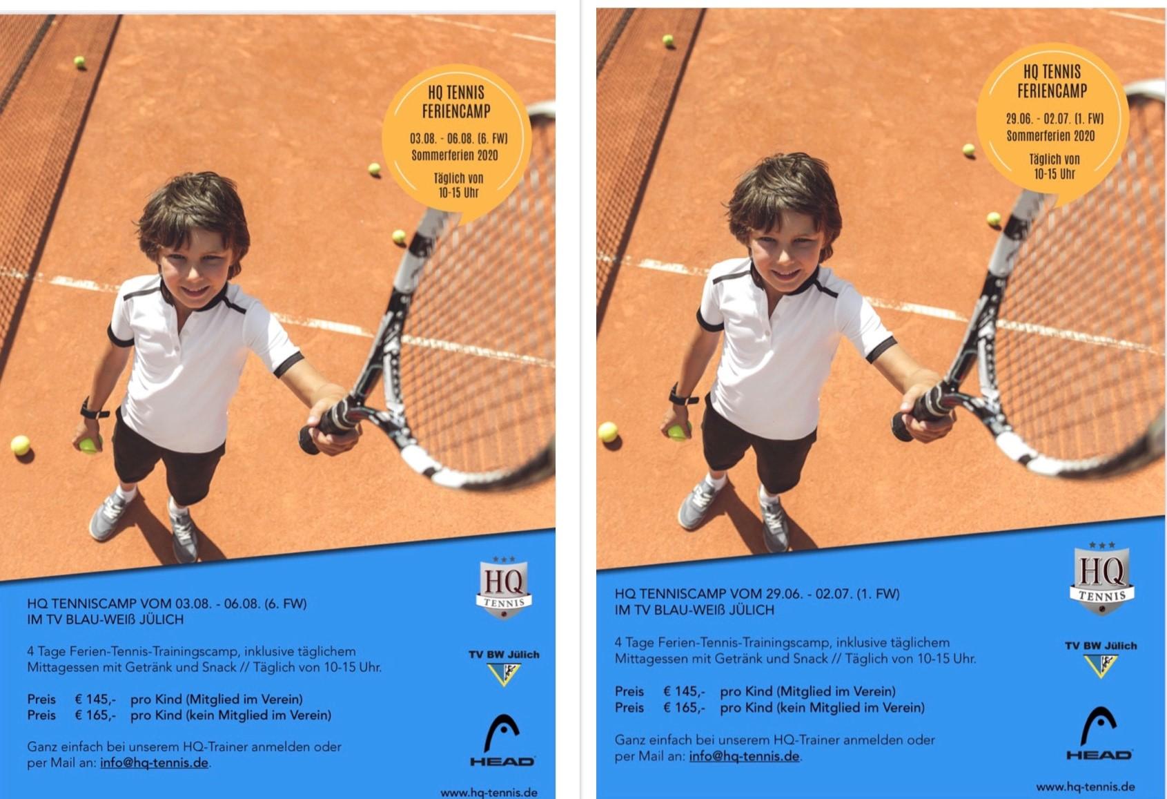 BLAUWEISS Tenniscamps – Schnell noch anmelden!
