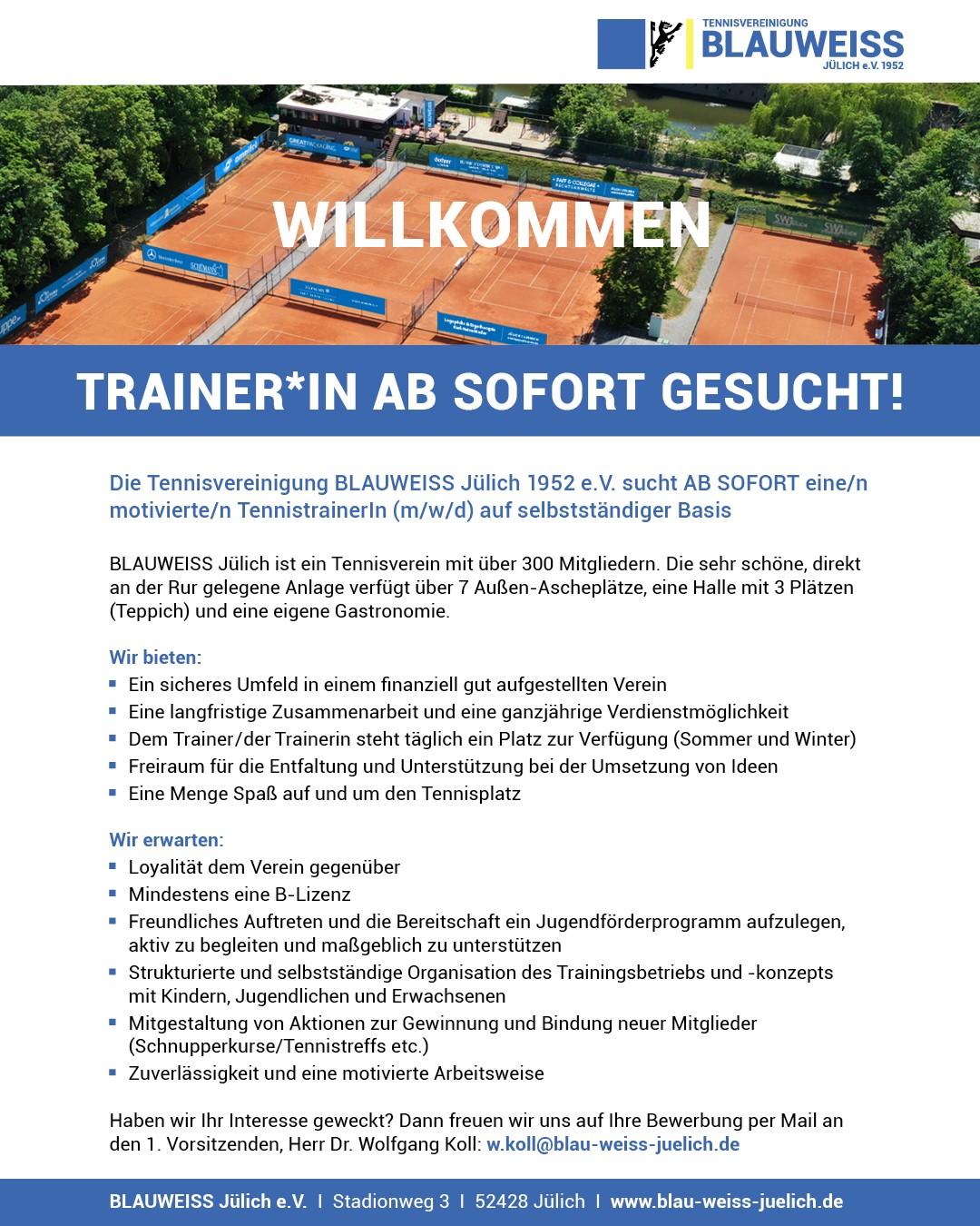 Tennistrainer*in gesucht!